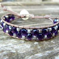 Beaded Leather Single Wrap Mini Cuff Bracelet with Dark Purple and Silver beads on Brown Leather