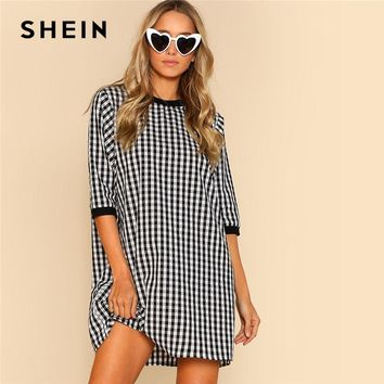 SHEIN Ribbed Trim Plaid Dress Round Neck Half Sleeve Women Gingham Cotton Shift Dress Spring Weekend Casual Short Dress