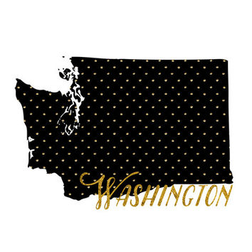 Washington map  - Usa Printable art , Instant download, Wall art deco , Gift gold