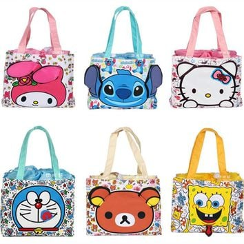 Cute Stitch Hello Kitty My Melody Bear Mini Small Drawstring Lunch Box Bags for Kids School Girls Tote Picnic Food Bag Handbag