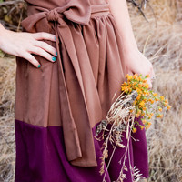 Color Block Dress, Brown and Purple