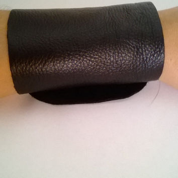 Wide Black Leather Bracelet Cuff- Free shipping in USA