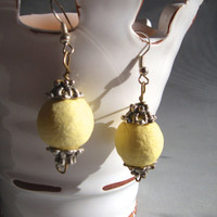 Handmade Paper Ball Earrings, Yellow or Red, Eco Friendly, Recycled Materials, Women's Fashion Accessories, Upcycled