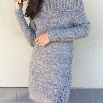 Grey Boat Neck Off Shoulder Irregular Lace-up Fashion Knit Mini Dress