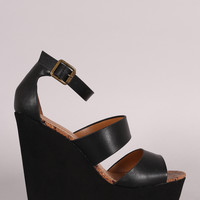 Bamboo Strappy Ankle Strap Platform Wedge