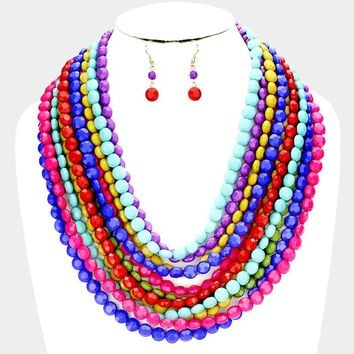 "20"" multi faceted bead layered strand necklace 3"" earrings"