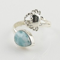 Larimar Adjustable Sterling Silver Crab Ring