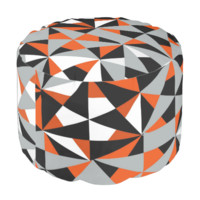 Modern Funky Orange Mix Geometric Print Pattern Round Pouf