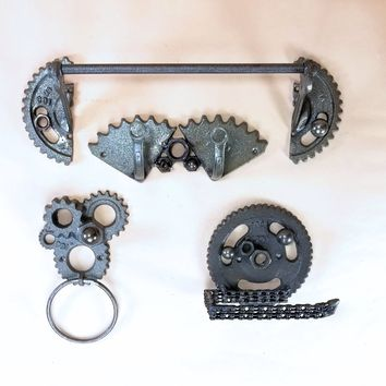 Cast Iron Gear Bathroom Accessory Set for Gearheads, Mechanics, and Racers of all kinds Steam Punk!