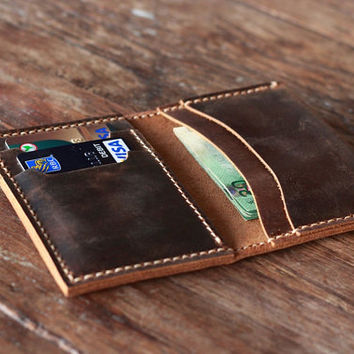 Handmade Leather Breast Pocket Wallet - Distressed Leather Perfection - 026 - Made by JooJoobs