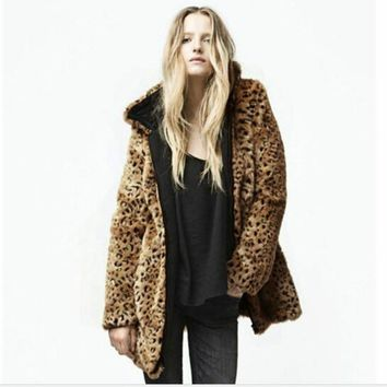 Chic Women Faux Leopard Fur Coat Artical Fox Fur Long Hoodie Jacket Faux Mink Fur Trench Coats Hooded Outwear Cardigan Bomber