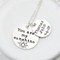 Personalized Necklace - Mommy Necklace - Hand Stamped Necklace - You Are My Sunshine Necklace - Mothers Day Gift