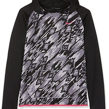 Nike Girls Therma Training Print Hoodie Black/Vivid Pink