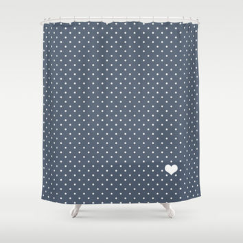 Steel Blue and White Polka Dot Shower Curtain by Kat Mun | Society6
