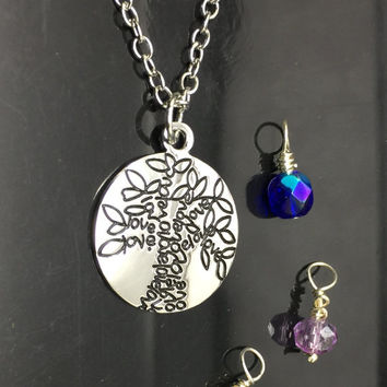 Hand stamped Silver Family Tree Of Life Love Stamped Necklace  Handstamped Jewelry Stamped Jewelry Hand Stamped Silver Jewelry