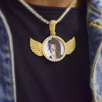 Custom Picture Pendant with Wings Necklace
