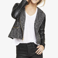 HOODED MIXED MEDIA MOTO JACKET from EXPRESS