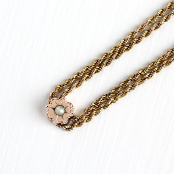 Antique 10k Rose Gold Filled Seed Pearl Slide Charm Necklace - Vintage Victorian Fob Pocket Watch Chain Layered Starburst Sun Jewelry