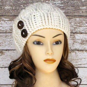 Crocheted Women's Winter Hat, Ivory Cable Ladies Cloche Hat