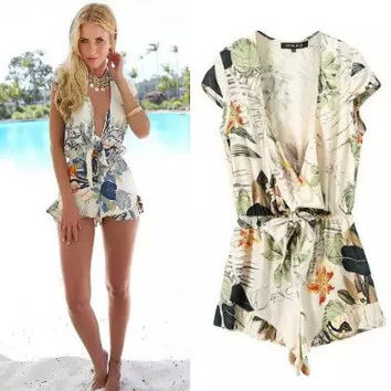 Cotton Summer Print V-neck Irregular Romper = 5840436673