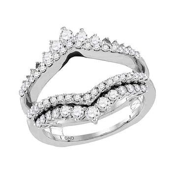14kt White Gold Women's Round Diamond Wrap Ring Guard Enhancer Wedding Band 1.00 Cttw - FREE Shipping (US/CAN)