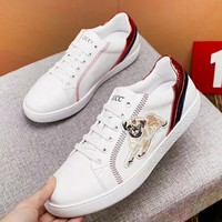 GUCCI new trend men's puppy embroidery tie low shoes shoes sneakers White