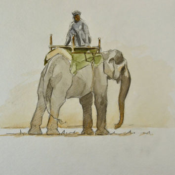 Indian Elephant Painting Watercolor 9x12