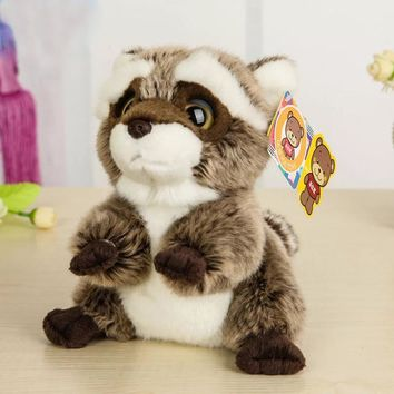 Free Shipping 18CM Lovely Small Racoon Plush Toys Dolls Stuffed Animal Toys For Children Kids Toys Christmas & Birthday Gifts