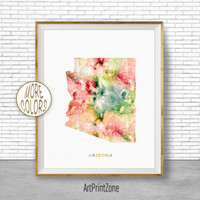 Arizona State Arizona Decor Arizona Print Arizona Map Art Print Map Artwork Map Print Map Poster Watercolor Map ArtPrintZone