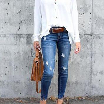 White Irregular Draped Single Breasted V-neck Long Sleeve Blouse