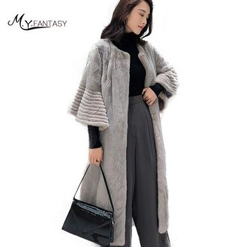 M.Y.FANSTY 2017 New Imported Crown Velvet Mink Fur Coat Female Long Flare Sleeve V-Neck Mink Fur Coat Womens Real Fur Mink Coats
