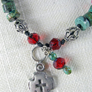 Bohemian-  boho chic - southwest navajo -  sterling silver cross -  turqouise beads - red bracelet - religious -  mexican jewelry
