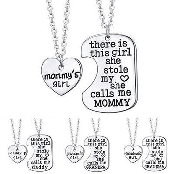 There is This Girl She Stole My Heart Silver Plated Charming Family Necklaces RR