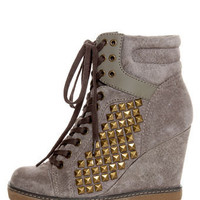 Report Nadja Grey Studded Lace-Up Wedge Sneakers - $109.00