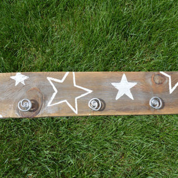 Barn wood white stars Jewelry Hanger Rack Display -  Shabby Chic Necklace Bracelet