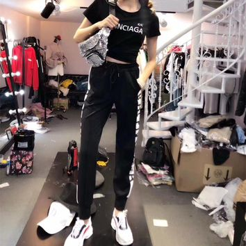 """Balenciaga"" Women Casual Fashion Letter Print Short Sleeve Multicolor Trousers Set Two-Piece Sportswear"