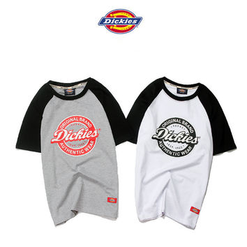 """Dickies"" Fashion Casual Male Female Classic Harajuku Wind Multicolor Shoulder Letter Print Embroidery Small Logo Round Neck Short Sleeve Couple Cotton T-shirt"