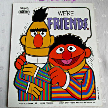 Playskool Sesame Street Wood Puzzle We're Friends Bert Ernie Muppets Childrens Game