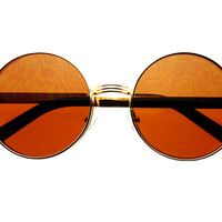 Stylish Gold Metal Retro Vintage Circle Round Sunglasses R1812
