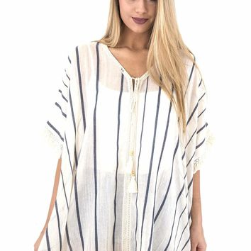 Women's Striped Poncho Cover-up with Fringed Hem