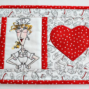 Nurse Mug Rug, Quilted Mug Rug, Medical Snack Mat, Red White Mug Rug, Gift for Nurse, Graduation Gift, Quiltsy Handmade