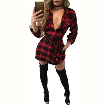 Loose Long Sleeve Cotton Checker Plaid Mini Dress