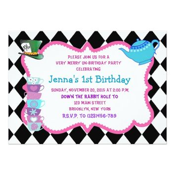 Alice in Wonderland Birthday Invite Madhatter