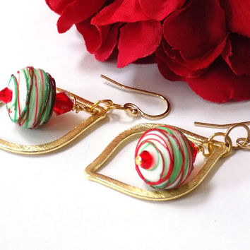 Christmas Earrings, Red and Green, Holiday Jewelry, Ornament Earrings, Winter Earrings, Christmas Gift, Secret Santa, Stocking Stuffer