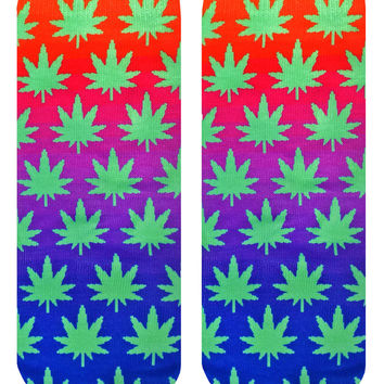 Pixelated Weed Ankle Socks