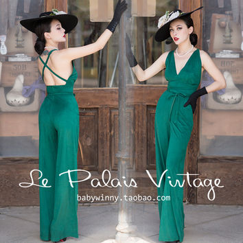 FREE SHIPPING Le Palais Vintage 2016 Spring New Limited Edition Emerald Green Cut Halter Strapless Drape Romper Women Jumpsuit