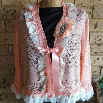 Peach Sweater, vintage lace, cotton crochet doily, ribbon flowers, diamantes, altered couture, 12-14 (M/L) peaches and cream cardigan