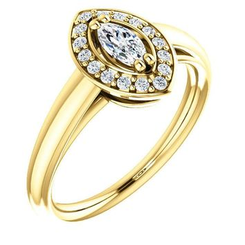 0.25 Ct Marquise Ring 14k Yellow Gold