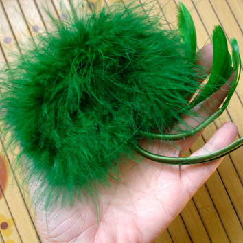 Vintage 1960s Marabou Fascinator Hair Comb Emerald Green 2013597