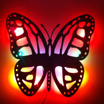 "Butterfly Night Light Marquee Sign Back Lite Approx. 24"" tall x 24"" wide ready to hang"